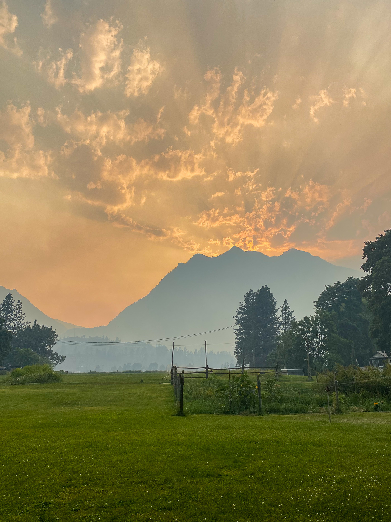 Smokey skies in Lilloeet, BC, after the Lytton wildfire June 30, 2021, photo by Ayden Harrison