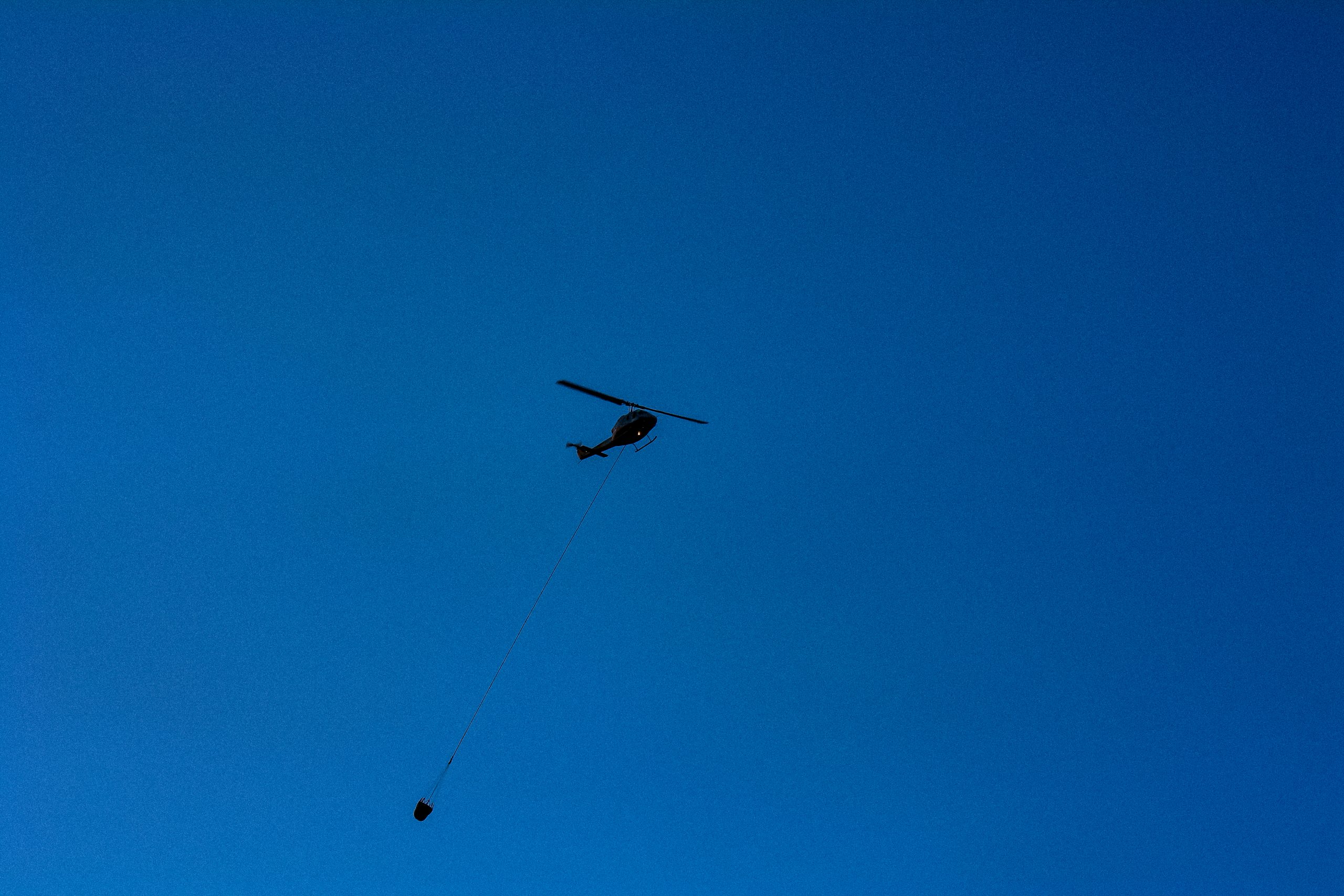 Helicopter over Lillooet, BC, during the 2009 wildfire. Ayden Harrison photoHe
